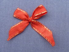 25 3.5cm WIDE BEAUTIFUL RED & GOLD EDGED SATIN BOWS B19