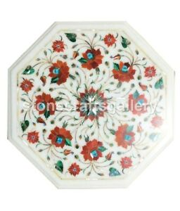 "12"" White Marble Side Coffee Table Top Carnelian Floral Inlay Kitchen Decor W024"