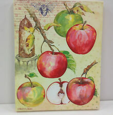 """Branch of Apples~Canvas Stretched on Wood Frame~Hanger~Screen Printed 11"""" x 14"""""""