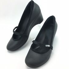 Crocs Womens Casey Mary Jane Wedge Black High Heels Shoes Size 9