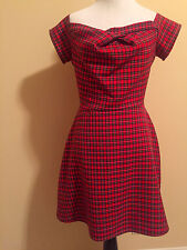 Red Plaid Dress, Size Medium Off the Shoulder Dress Love Brand, Red and Black