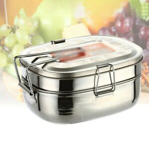 1 Pc Double Layer Stainless Steel Lunch Square Bento Food Container Box 2 Layers