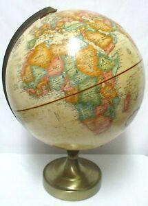 "Replogle 12"" World Classic Series Globe brass Base 16"" Tall Antique Spinning Vtg"