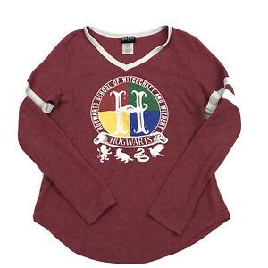 Jerry Leigh Harry Potter Logo Red V Neck Long Sleeve Shirt Junior Large L