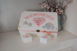 Baby Keepsake Box, Wooden Elephant Box, Christening Gift, Baby Girl Memory Box