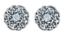 925 Sterling Silver Round Celtic Knot Stud Earring with April Birthstone