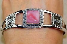 Beau Bracelet manchette en  argent massif 925 et vrai Opale Rose