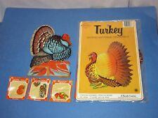Lot 5 Vtg Thanksgiving Beistle Turkey Art Tissue Decor & Dennison Seals Packs