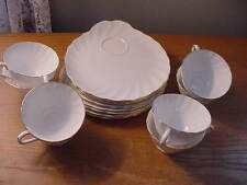 """8 Sets of Vintage Tuscan Fine Bone China """"Dover"""" Snack Sets, Trays and Cups, Ex"""
