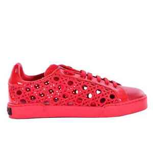 Dolce & Gabbana Leather Patent Leather Net Fino Sneakers Shoes Red 07272