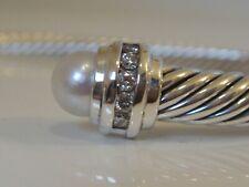 $895 DAVID YURMAN SS PEARL DIAMOND BRACELET 5mm.