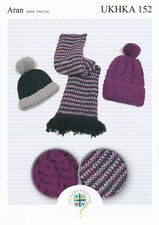 Ladies Ribbed or Cabled Hats & Tweed Scarf Knitting Pattern Aran Knit UKHKA 152