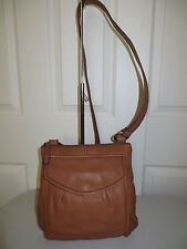 FOSSIL BROWN LEATHER SHOULDER CROSSBODY PURSE ORGANIZER MESSINGER HANBAGS