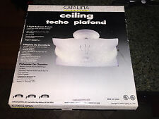 Catalina Lighting Square Ceiling Light Fixture with Line Design White Glass NIB
