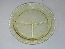 "Amber Depression Glass Divided Dinner Plate 10 1/2"" wide vintage Hocking Cameo"
