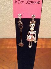 BETSEY JOHNSON WHITE LACE SKULL GIRL WITH PINK DRESS & BLING DANGLE EARRINGS NWT