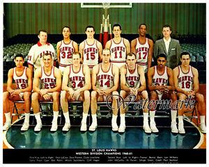 NBA 1960 - 61 St. Louis Hawks Color Team Picture Division Champion 8 X 10 Photo