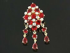 18ct Gold Plated Red Faux Ruby Indian Bridal Brooch Hijab Jilbab Pin Gift