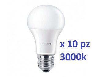 SET DA 10 LAMPADINE LED Philips 13W  E27 LUCE CALDA 3000K 1521LM