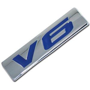 CHROME/BLUE METAL V6 ENGINE RACE MOTOR SWAP EMBLEM BADGE FOR TRUNK HOOD DOOR B