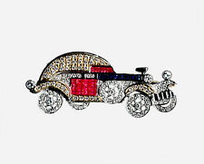VINTAGE 18 KT GOLD   CLASSIC CAR PIN  WITH DIAMONDS RUBIES SAPPHIRES