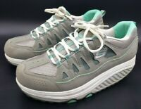 SKECHERS Shape-Ups Women's Gray Teal Fitness Walking Exercise Shoes Size 9.5