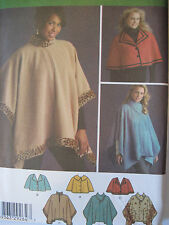 Simplicity Pattern 4358 Fleece Capelets and Poncho XS-M