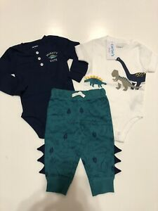NWT Carters Baby Boy 3 Piece Outfit Mighty Cute Dinosaur Blue Green Size 6M