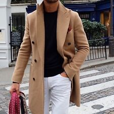 NWT350$ TALLIA  Elegant Wool Mens Coat Size L Color Tan