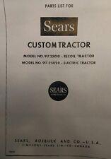 Sears Custom 6 Riding Lawn Mower Yard Garden Tractor Parts Manual 10pg 917.25020