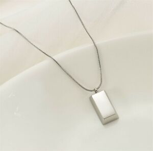 Women Silver color Stainless steel Brick Bar Shape Titanium Plated Necklace