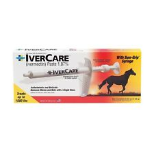 IVERCARE Equine Deworming Paste 1.87% Ivermectin Treat 1500lbs Horse Single Dose