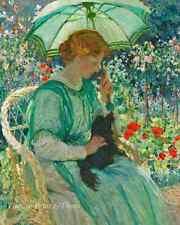 Woman Dog Summer Garden Art - The Green Parasol by Emanuel  Fox  8x10 Print 0267