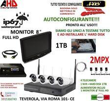 "KIT WIRELESS VIDEOSORVEGLIANZA AHD 2MP DVR FULL HD 4 TELECAMERE 1TB + MONITOR 8"""