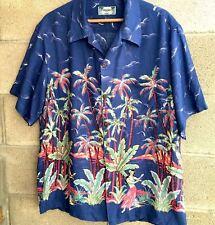 King Kamehamera Aloha Dancers Palm Trees Hawaiian Aloha Button Front Mens Shirt