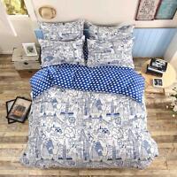 Blue Doodle Single Double Queen King Size Bed Set Pillowcases Quilt Duvet Cover