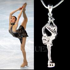 Figure Skater Skates Ice Skating made with Swarovski Crystal Necklace Jewelry