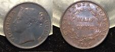Rare 1845 WW Straits Settlements East India Company 1/2 Cent-Nice(Krause XF-$200