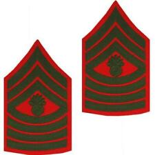 GENUINE US MARINE CORPS CHEVRON: MASTER GUNNERY SERGEANT - GREEN ON RED FOR MALE