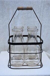 Antique Metal Milk Bottle Holder Carrier & 4 One Quart Bottles Vintage