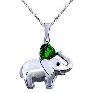 Summer Sale Sterling 925 Heart Simulated Green Emerald Elephant Pendant Necklace
