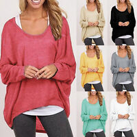 Women's Oversized Loose Long Sleeve Shirt Baggy Plus Tops Blouse Batwing Jumper