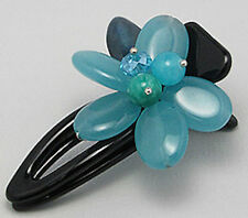 47mm BIG BEAUTY Flower Hair Clip with Blue Chalcedony Retail: $30