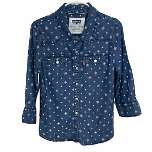 Levis Girls Top Size Small Long Sleeve Snap Up Blue White Print Chambray Western