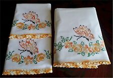 Lovely Vintage Embroidered Butterfly Bed Sheet Pillow Cases Set Crocheted Lace