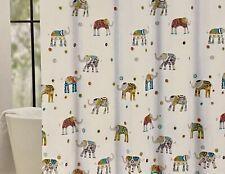 Cynthia Rowley Decorated Elephant Fabric Shower Curtain Orange Blue Green