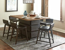 TWO TONE COUNTER HEIGHT PEDESTAL DINING TABLE STOOLS DINING ROOM FURNITURE SET