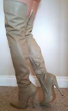 Sexy Rare Extra Length Beige Leather High Heel Thigh/Crotch Boots UK 9 EU 42