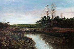 "Luigi Ullio ""Landscape I"" Hand Signed Original Painting on Paper, Italian Artist"