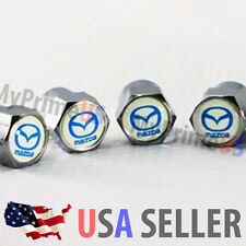 Mazda Logo Valve Stems Caps Covers Chromed Emblem Air Car Auto Wheel Tire USA